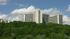 White apartments with green trees. Stock Footage