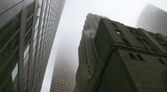 Stock Video Footage of Misty skyscrapers. Gotham city style.