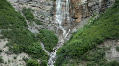 Waterfall zoom out Bridal Veil Falls P HD 0261 Stock Footage