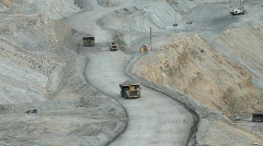Mining trucks on road P HD 0285 Stock Footage