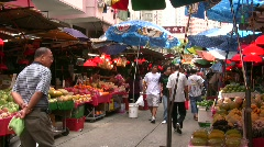 China Hong Kong traditional Chinese open-air street market vendors Stock Footage