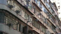 China Hong Kong Wan Chai old building air-conditioner outside window CO2 Noise  Stock Footage