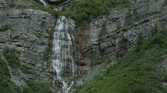Mountain waterfall hikers P HD 0279 Stock Footage