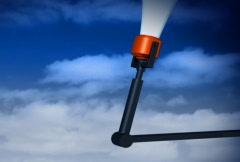 Megaphone on mechanic arm - stock footage