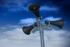 Megaphones on pole - stock footage