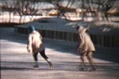 Skating Outdoors in 1960 (Vintage 8mm film footage) Stock Footage
