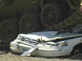 Army Tank crushing Car w/ Sound #2 Stock Footage