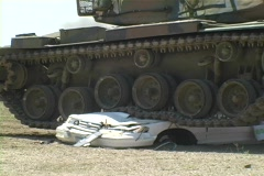 Army Tank crushing Car w/ Sound #3 - stock footage