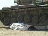 Army Tank crushing Car w/ Sound #3 Stock Footage