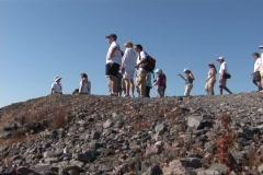 group of people on mountain ridge - stock footage