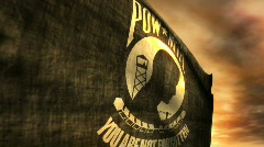(1096) POW MIA Flag with Sunset Stock Footage