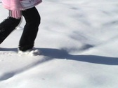 Little Girl Walks Through The Snow Stock Footage