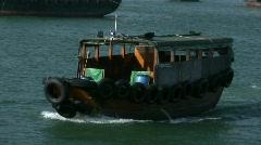 China Hong Kong Chinese junks sampans boats Stock Footage