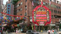 China Hong Kong Chinese festival Ceremonial arch Stock Footage