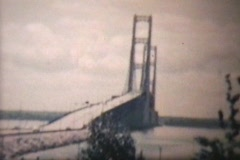 Mackinac Bridge in 1960 (Vintage 8mm film footage) Stock Footage
