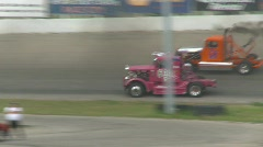 Motorsports, Big Rig racing on the oval Stock Footage