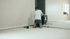 Carpet install stretch white room P HD 0249 - stock footage