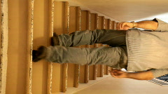 Walking up stairs verticle P HD 0244 Stock Footage