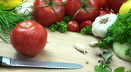 Stock Video Footage of Slicing juicy tomatoes