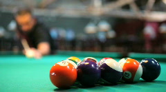 Man breaking a rack of 8 ball Stock Footage