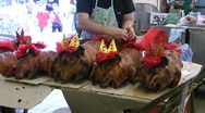 Chinese roasted pig for offering in traditional festival Stock Footage