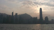 China Hong Kong skyline from ferry Stock Footage
