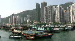 Hong Kong Chinese junks sampans at Aberdeen harbor harbour Stock Footage