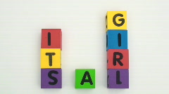 Building blocks spell It's A Girl Stock Footage