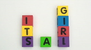 Stock Video Footage of building blocks spell It's A Girl