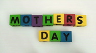 Stock Video Footage of BUilding blocks spell MOTHERS DAY