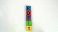 Building blocks spell PROFIT Stock Footage