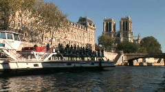 Day Boat Notre Dame - stock footage