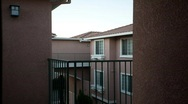 Stock Video Footage of Dusk in modern apartment complex