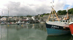 Fishing boats moored in the harbor at Padstow in Cornwall England Stock Footage