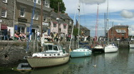 Stock Video Footage of Boats moored in the harbor at Padstow in Cornwall England