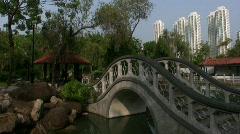 China Hong Kong Sha Tin Park Shing Mun river Stock Footage