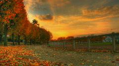 Autumn sunset over stadium hdr motion time lapse Stock Footage