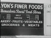 40s grocery store exterior Stock Footage