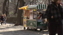 Central Park vendor selling his wares. - stock footage