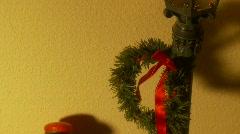 Christmas Carolers Under Lantern, Pan Down 2 Stock Footage