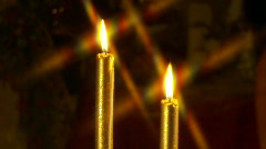 Two Burning Candles, Star Filter, Zoom in Stock Footage
