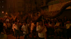 Hong Kong Tai Hang village Mid-Autumn festival Fire dragon dance Stock Footage