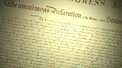 Declaration of Independence with Revolutionary Flag - stock footage