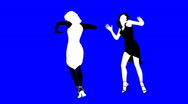 Silhouettes of two dancing girls.  Stock Footage