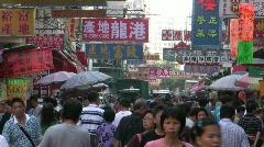 China Hong Kong downtown Chinatown crowds Sham Shui Po Apliu street market Stock Footage