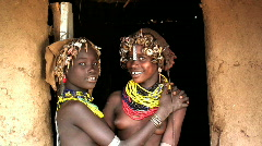 Dassenech Girls, Omo Valley, Ethiopia Stock Footage