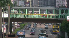 Hong Kong motorway expressway Traffic Jam Gridlock Double Deck Bus  Stock Footage