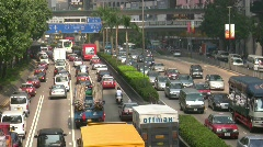 China Hong Kong Traffic Jam crossing harbor tunnel gridlock congestion Stock Footage