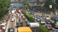 Stock Video Footage of China Hong Kong Traffic crossing harbor tunnel gridlock