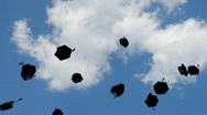Stock Video Footage of graduation - flying towards the sky